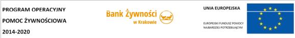Logotypy: Program Operacyjny Pomoc Żywnościowa 2014-2020, Bank Żywności w Krakowie, Unia Europejska Europejski Fundusz Pomocy Najbardziej Potrzebującym