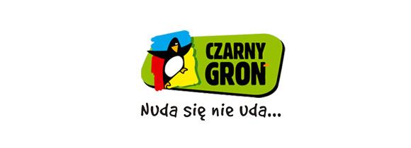 """Logotyp firmy Czarny Groń i hasło """"Nuda się nie uda..."""""""
