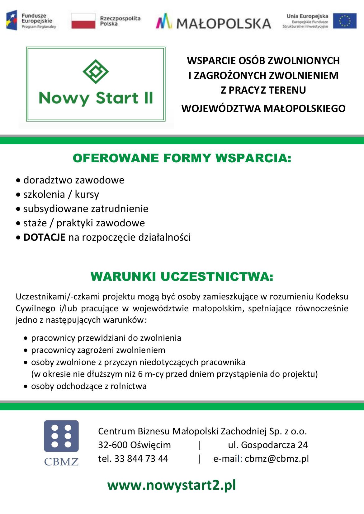 Plakat z informacjami zawartymi w treści artykułu. Na plakacie logotypy: Fundusze Europejskie Program Regionalny, Rzeczpospolita Polska, Małopolska, Unia Europejska Europejskie Fundusze Strukturalne i Inwestycyjne, Centrum Biznesu Małopolski Zachodniej