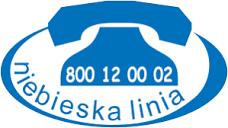 Logo Niebieskiej Linii, nr tel: 800 12 00 02