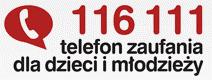 Logo telefonu zaufania dla dzieci i młodzieży, nr tel: 116 111