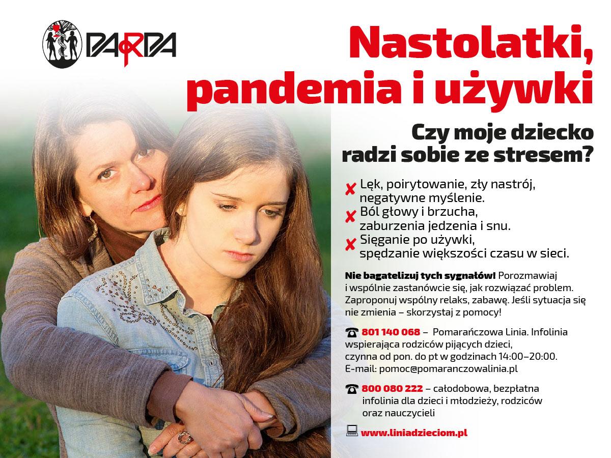 Plakat, na nim zdjęcie smutnej dziewczyny, którą obejmuje dorosła kobieta w geście wsparcia, powyżej logo PARPA, tekst dostępny w pliku umieszczonym pod plakatami