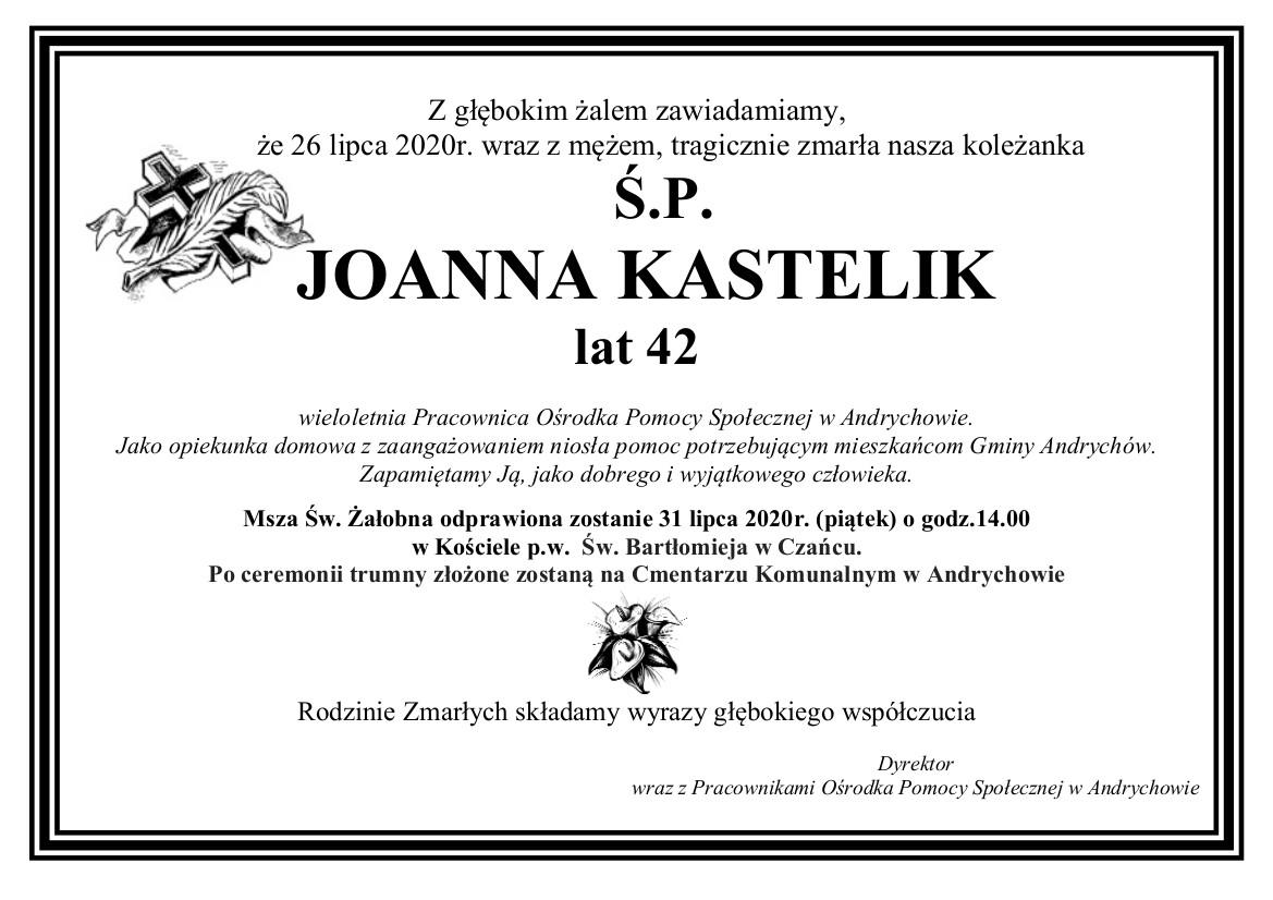Nekrolog ś.p. Joanny Kastelik. Tekst w wersji spełniającej kryteria dostępności cyfrowej do pobrania pod obrazkiem