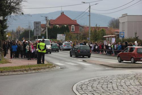 Droga, po dwóch stronach stoją dzieci promujące jazdę bez alkoholu