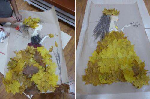 wizerunek Pani Jesieni wykonany przez dzieci z darów jesieni